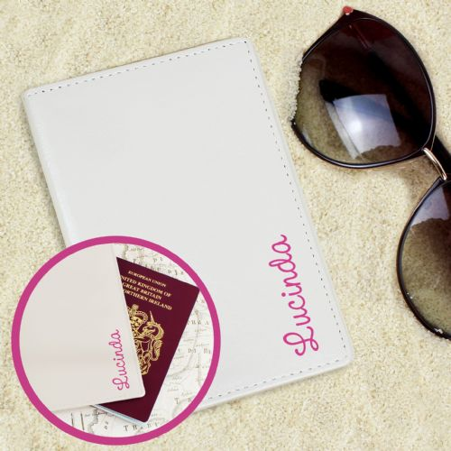 Personalised Pink Love Island Cream Passport Holder